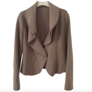 Marc Cain Brown Wool Open Front Pleated Blazer